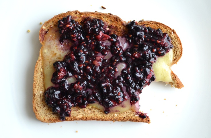 Grown up Grilled Cheese....Blackberries and honey