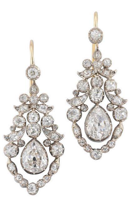 Fine Pair of Late Georgian Diamond Earrings