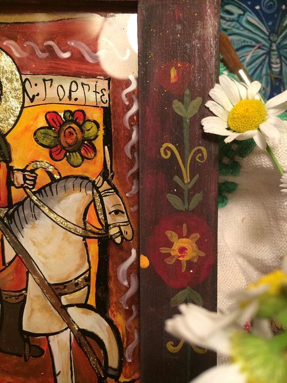 Saint George folk reverse glass icon handpainted by Cecileart