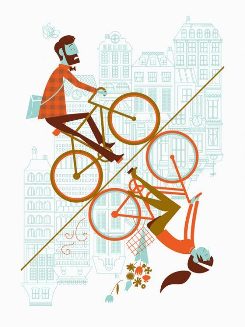 Bicycle Illustration of city cycling uphill.  [i love this graphic.] #bikeart