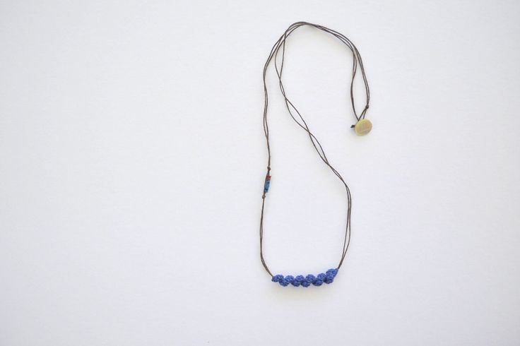 Blue long necklace, simple elegant necklace, natural jewelry, bohemian necklace, everyday necklace, thin necklace, boho pendant - pinned by pin4etsy.com