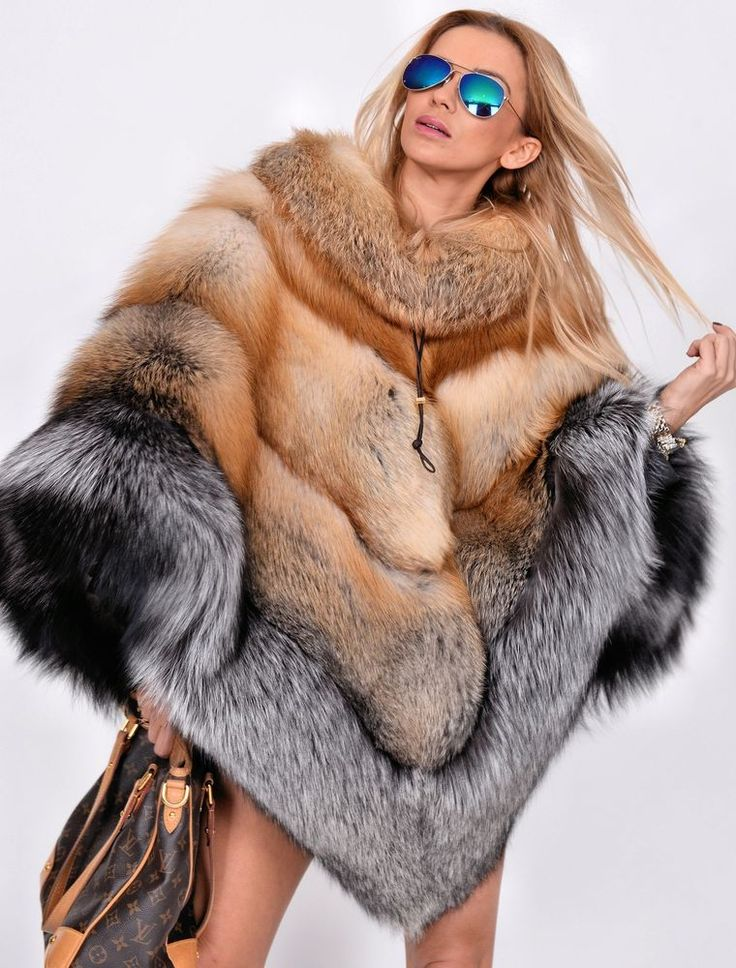 NEW MULTI COLOR SAGA FOX FUR PONCHO CLAS OF SABLE MINK CHINCHILLA COAT FIRE GOLD #LAFURIA #Ponchos                                                                                                                                                                                 Más