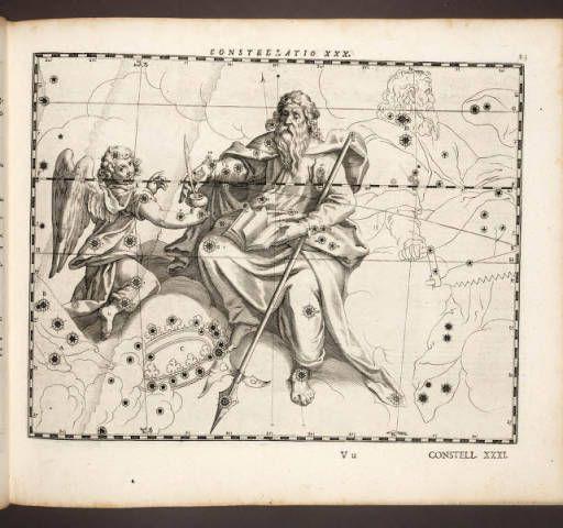 Coelum Stellatum Christianum. Julius Schiller, 1627. Page 83. Constellation XXX. Star Map. St. Matthew the Apostle formerly Sagittarius.