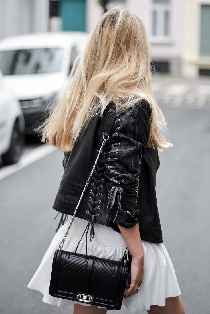 Leather jacket Asos // White dress Asos // Rebecca Minkoff bag // Morobe boots