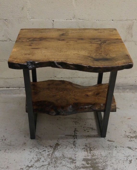 Vintage Industrial Live Edge Walnut Slab Coffee Table: Live Edge Burly Oak Vanity With Bottom Oak Shelf