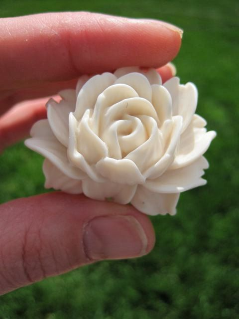 Drawer Knobs Ivory Rose flower for dresser cabinets by DaRosa, $44.00
