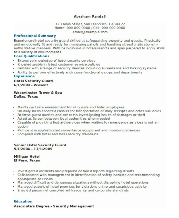 Security Guard Resume Templates 12 Free Word Pdf Resume