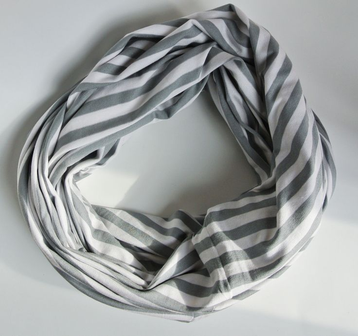 Grey & White Stripe   -   Infinity Nursing Scarf / Breastfeeding Cover  *** READY TO SHIP *** by MarielleBabyDesigns on Etsy