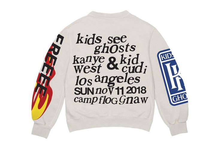 The Kids See Ghosts Camp Flog Gnaw 2018 Merch Is Available Now Sweatshirts Crew Neck Sweatshirt Alternative Fashion