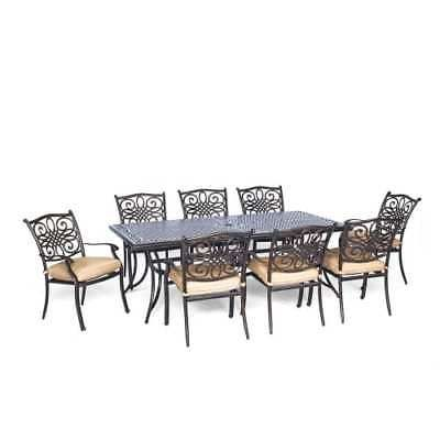 Hanover TRADDN9PC Traditions 9-Piece Aluminum Framed Outdoor Dining Set with Umb