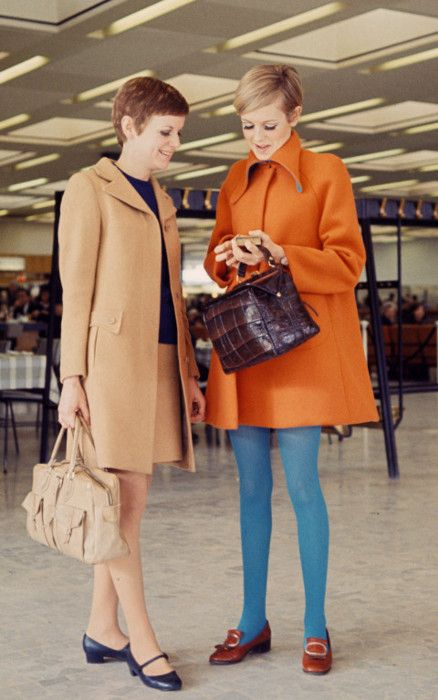 Repinning this from my Twiggy board to remind myself how great mushroom blue tights look with and orange coat.
