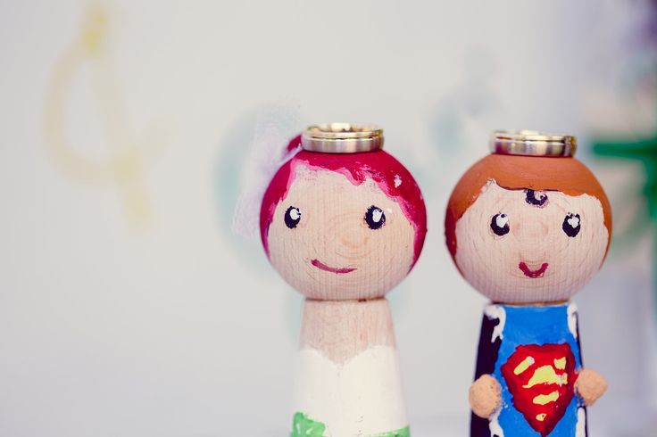 #bride and #groom #wooden #figures #wedding #ring #esession #engaged #superman #handmade #diy #cute #photography