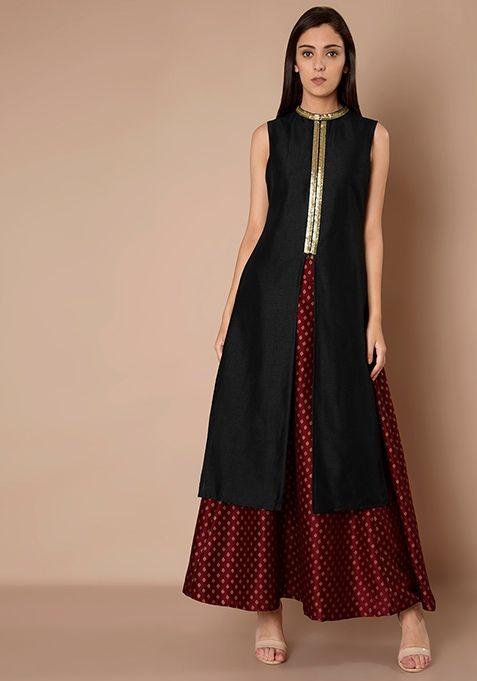 4241bfd511c8f High Neck Silk Tunic - Black  Fashion  FabAlley  Tunic  WeddingWear   Marriage  Indya  Trending  HighNeck  Neck  Westerns  High  Later  Dressing
