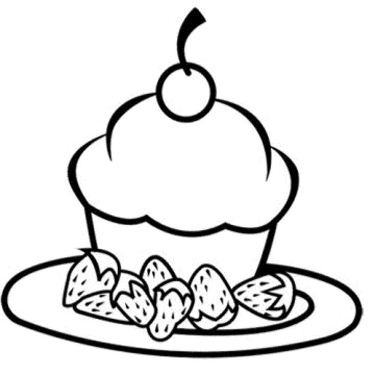 happy birthday cupcake coloring pages - photo#13