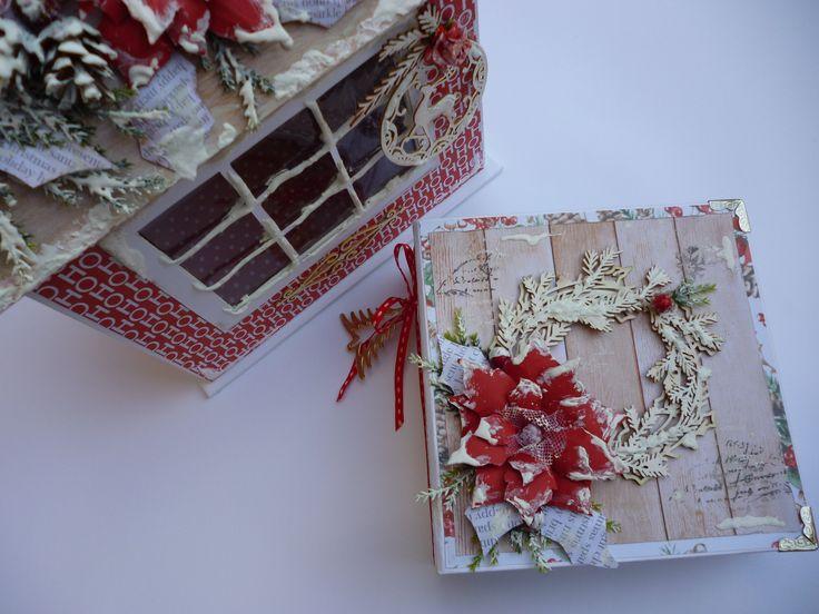 Handmade Christmas Glitter House Box with Handmade Mini Album