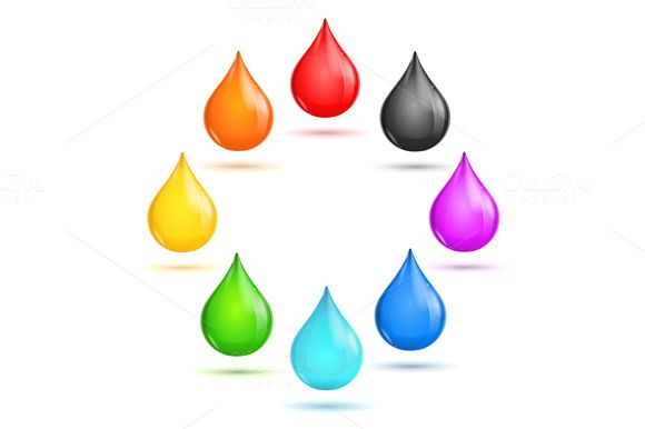 Glossy Drop Rainbow Set in The Circle. Vector illustration. EPS and high resolution JPG in ZIP.