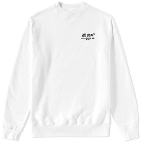 Off-White Off Crew Sweat (White & Black) ($250) ❤ liked on Polyvore featuring tops, hoodies, sweatshirts, champagne top, white and black top, crew-neck tops, crew top and black and white sweatshirt