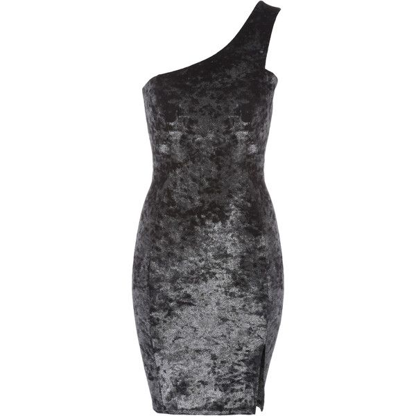 Silver Velvet One Shoulder Dress ($43) ❤ liked on Polyvore featuring dresses, silver cocktail dress, party dresses, bodycon cocktail dress, going out dresses and silver bodycon dress