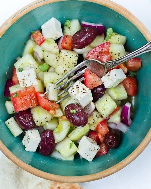 tomato, cucumber, olives, feta.: Shepherd Salad, Olive Oils, Tomatoes Salad, Feta Salad, Cucumber Salad, White Wine, Tomato Salad, Summer Salads, Greek Salad