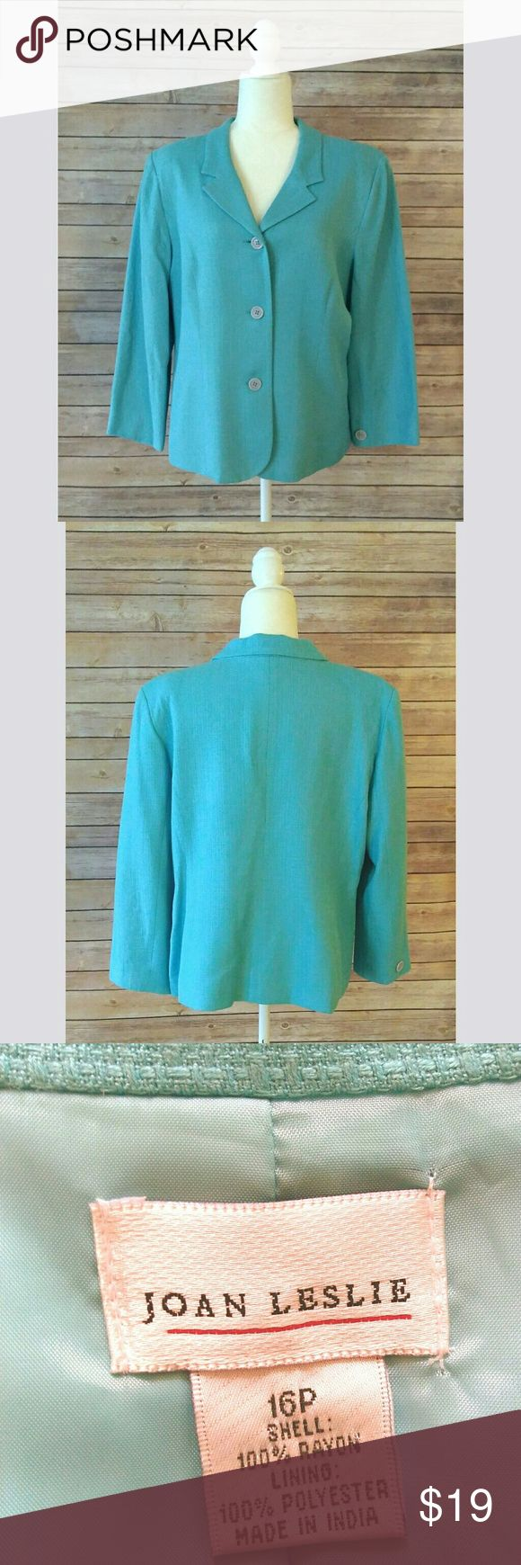 Joan Leslie turquoise color blazer Joan Leslie turquoise blazer with three buttons.  It is a 100% rayon fabric.  It is fully lined.  It is a beautiful jacket that can be worn in a business setting or even with jeans as a casual chic outfit.  Pet free smoke free home. Joan Leslie Jackets & Coats Blazers