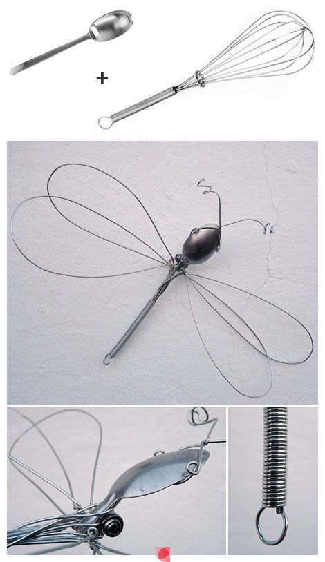 Dragonfly wire sculpture from a whisk and spoon.     Gloucestershire Resource Centre http://www.grcltd.org/home-resource-centre/