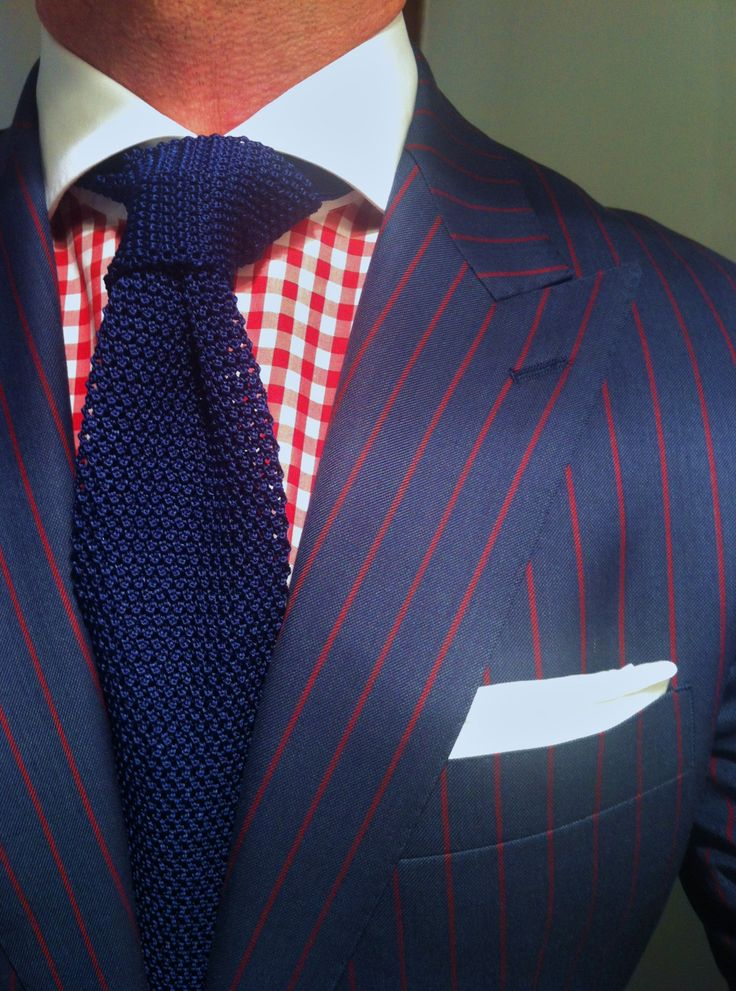 Wiwt mtm red pinstripe suit the red by oger mtm red for Navy suit checkered shirt