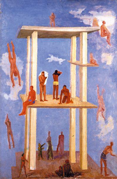 Giuseppe Capogrossi, Bagnanti in piscina 1931, Roma, Óleo sobre tela