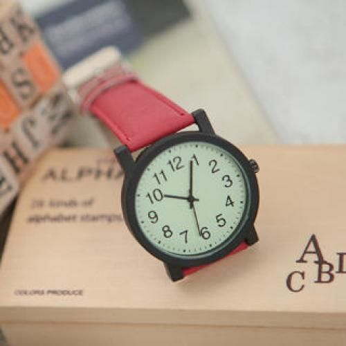 Faux-Leather Strap Watch