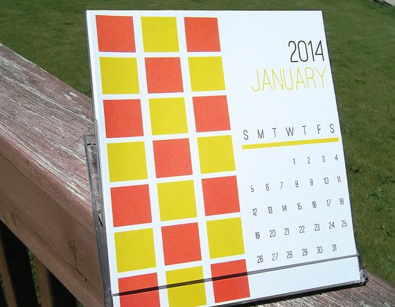 2014 Desktop Calendar - Bold Graphic Shapes and Bright Colors - CD Calendar Display Jewel Case