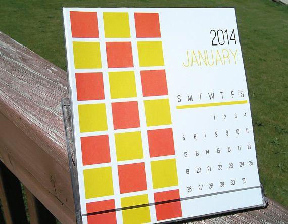 2014 Desktop Calendar - Bold Graphic Shapes and Bright Colors - CD Calendar Display Jewel Case