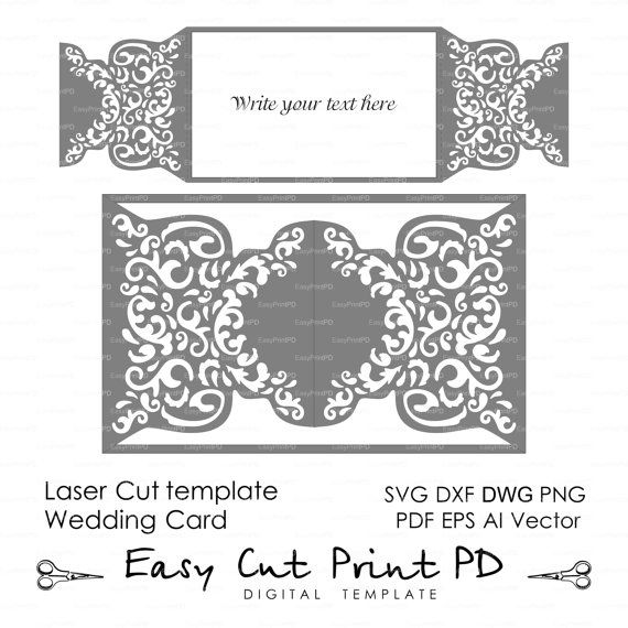 Wedding invitation Pattern Card Template shutters gates doors Lace folds (svg, dxf, ai, eps, png pdf) lasercut Instant Download Cameo Cricut