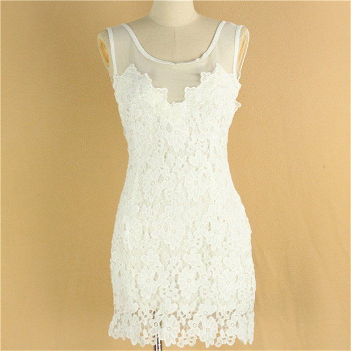 Sexy Para Mujer Backless tirantes de encaje blanco Club Fiesta Cocktail Blanco Mini Vestido
