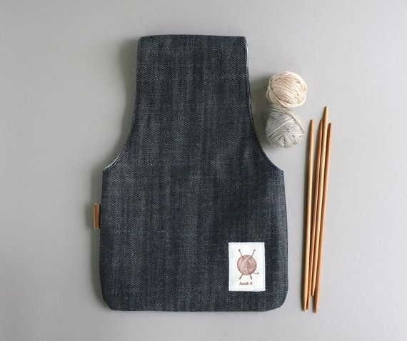 Made of Denim, this knitting bag is the perfect gift to any crafter.    It is used to put your yarn in while knitting. Put the bag on you wrist and