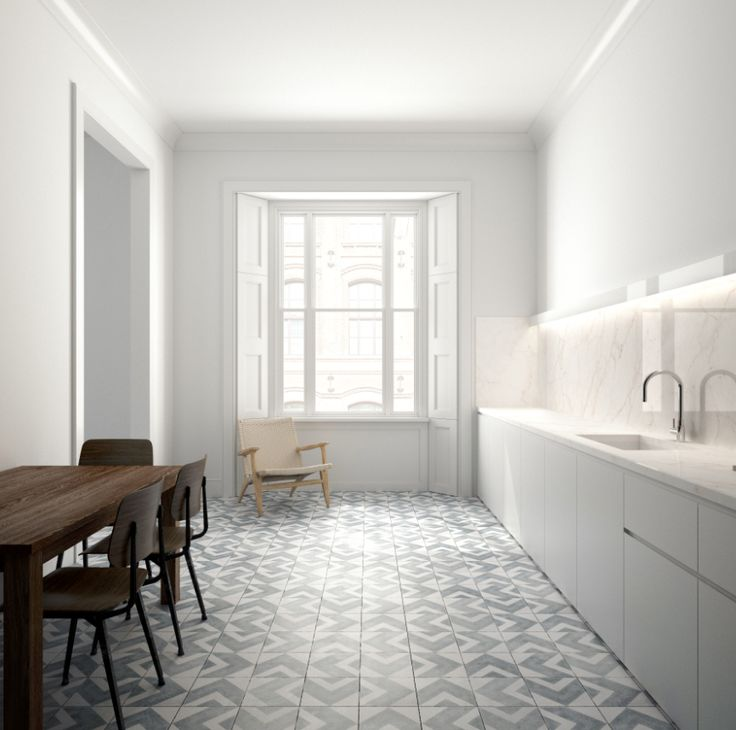 Bert & May uses a traditional handmade process to create these Flecha cement tiles in modern ice grey. They are non-porous and durable, so suitable for high-traffic areas, such as kitchens.  (colour/material scheme for bathroom?)