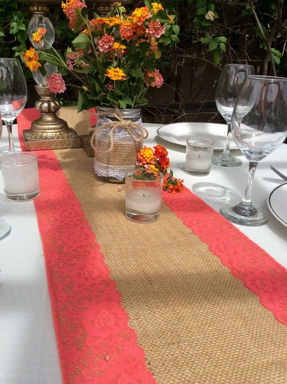 WEDDING DECOR/Burlap Table Runner/Coral pink by LovelyLaceDesigns