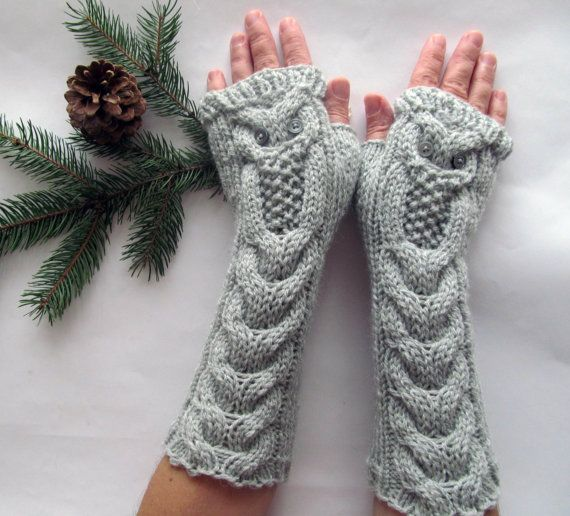 Owl Light Gray Long Hand Knitted Arm Warmers Fingerless Gloves, Woman Mittens, Eco Friendly,Christmas Gift