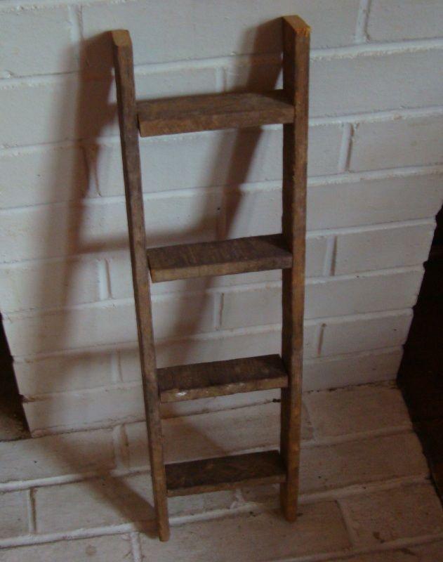 Rustic Country Primitive Antique Style Decorative Barn Wood Ladder Farm Decor Wood