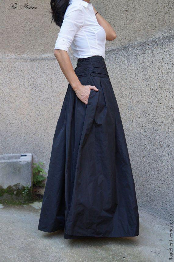 """Купить Длинная юбка ''MAXI""""/ Черная юбка/ F1190 - черный, юбка, юбка в пол"""