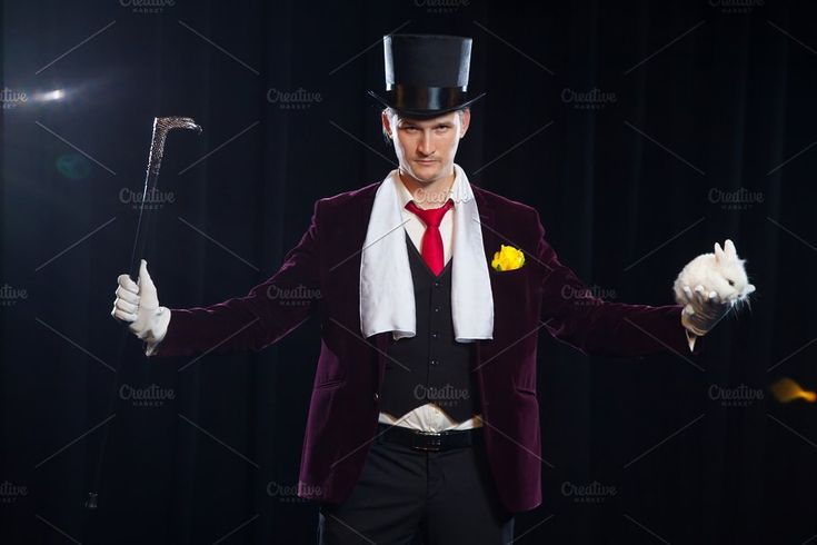 Magician with rabbit, Juggler man, Funny person, Black magic, Illusion on a black background by mif on @creativemarket