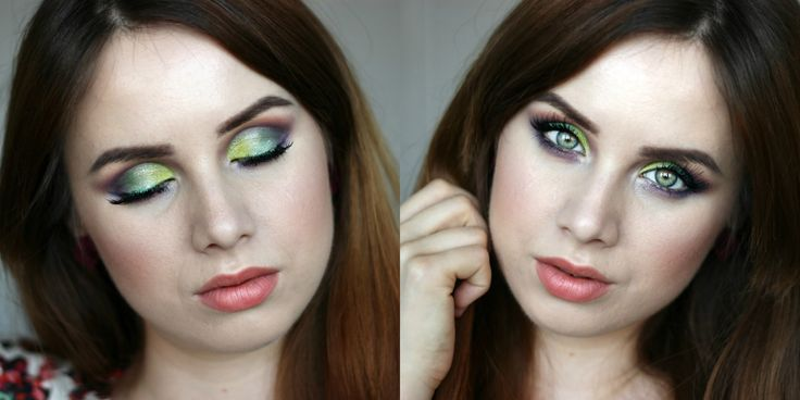 Sleek eyeshadow palette. Green and purple makeup look.