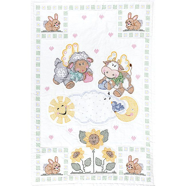 <li>Add heavenly flair to your baby's nursery with this crib top</li><li>Create a needlework masterpiece with this adorable quilt top</li><li>Crib top features stamped cross stitch, hand embroidered, heavenly creature designs</li>