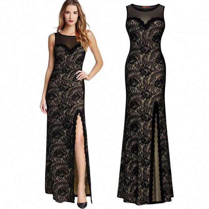 $13.99 - Black Lace Long Evening Formal Party Cocktail Bridesmaid Prom Gown Wedding Dress #ebay #Fashion #elegantweddinghairstyle - #Black