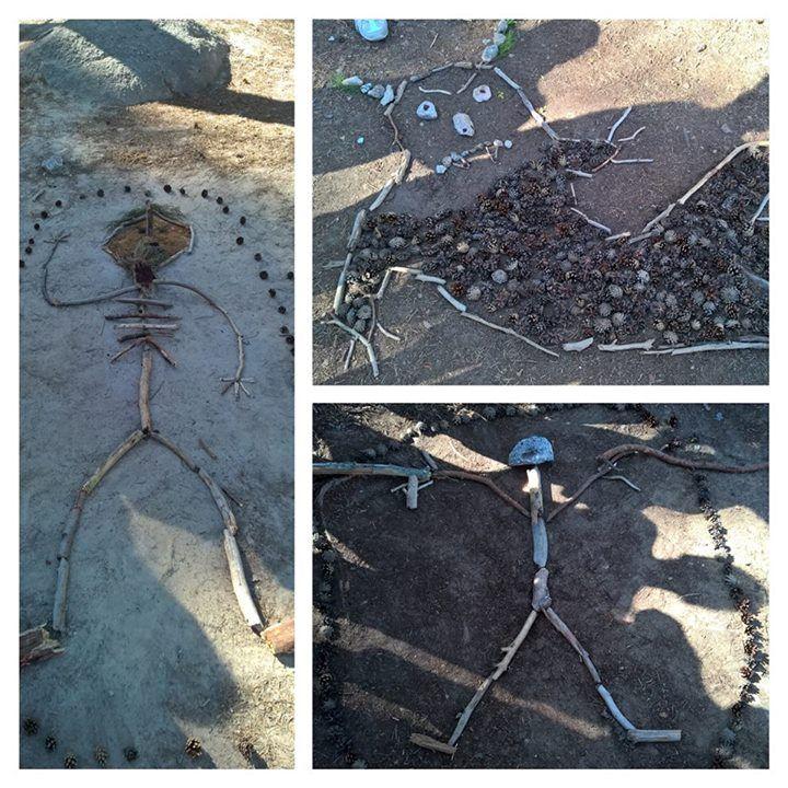 Maataidetta lähimetsässä. Oppilaat kokosivat luonnonmateriaaleista olion/örkin/monsterin ja keksivät sille nimen (esim. Sampo, Uolevi). Seuraavilla äikän tunneilla oppilaat kirjoittavat olioiden taustoista/ominaisuuksista. Lopuksi tulostetaan kuvat, yhdistetään tekstit ja kootaan luokan seinälle oman kylän monsterigalleria.