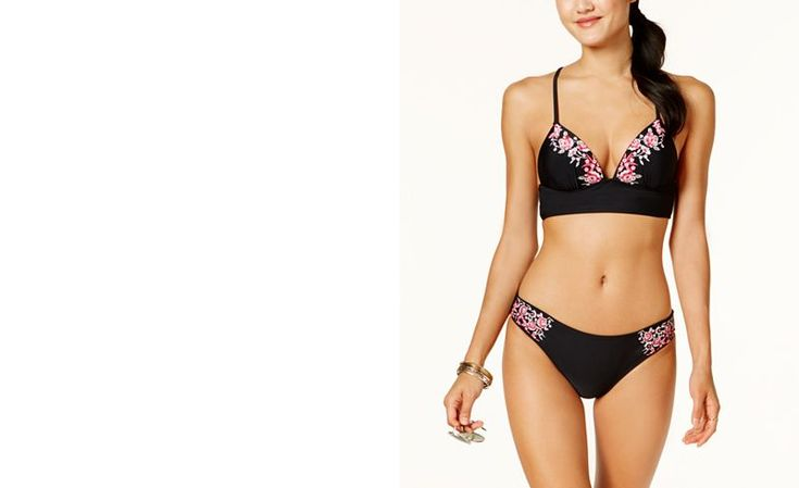 Hula Honey Juniors Flourishing Bloom Embroidered Push-Up Midkini Top, Created for Macy's, Available in D/DD - Swimwear - Women - Macy's
