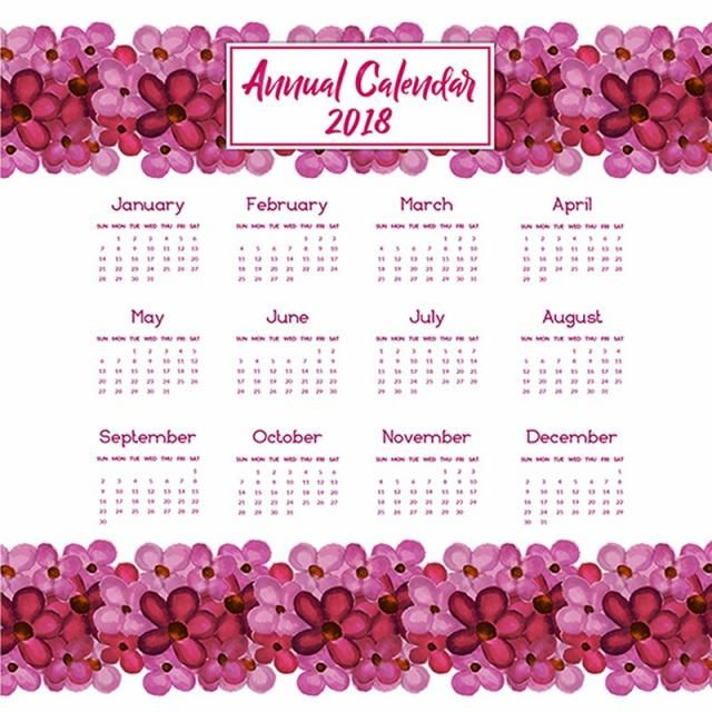 calendar, annual, school, template, number, time, plan, schedule, date, planner, diary, year, day, timetable, month, weekly, week, daily, monthly, forms, happy, new, holidays, event, winter, december, 2018, watercolor, floral, nature, pink,