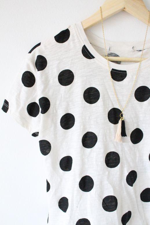 DIY tassel necklace and polkadot shirt