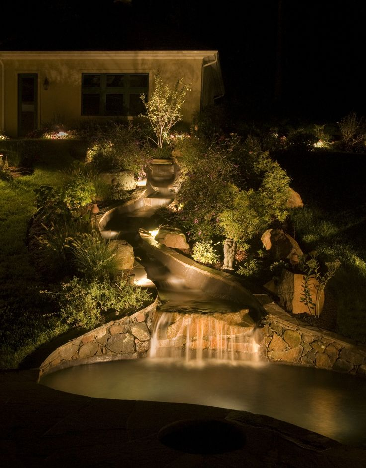 amazing pond landscaping design ideas in garden with waterfall lighting submersible lights