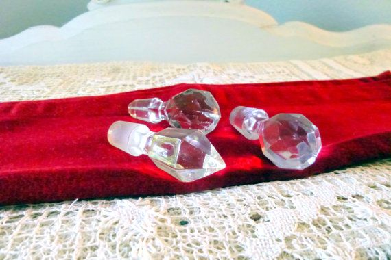 Crystal Glass Cut Stoppers 3 Antique for by AttiqueBoutique, SOLD