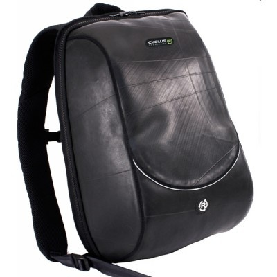 Recycled tyre backpack by Cyclus. Waterproof & laptop sized with numerous compartments.