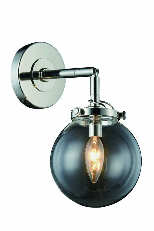 "Leda Collection Wall Sconce W:6"" H:13"" E:9"" Lt:1 Polished Nickel Finish. Leda Collection Wall Sconce W:6"" H:13"" E:9"" Lt:1 Polished Nickel Finish  Watts: Lumens: Lamp Type: Shape: Style:Contemporary Light Bulbs:1 Bulb Type:E12 Bulb Wattage:40 Max Wattage:40 Voltage:110V-125V Finish:Polished Nickel Crystal Trim: Crystal Color: Hanging Weight:3"